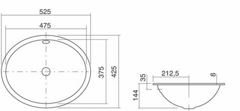 Alape EB inbouwwastafel 55,5x42,5 cm plaatstaal, wit