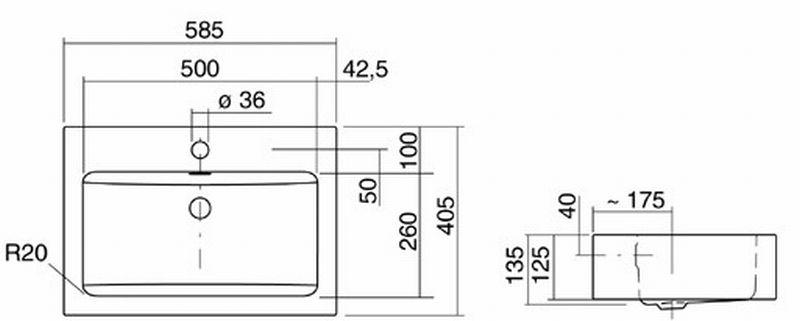 Alape AB opzet wastafel 58,5x40,5x12,5 cm, wit