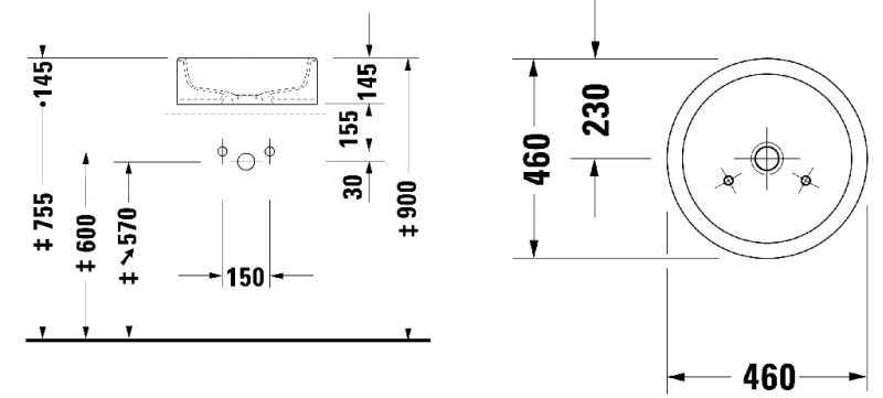 Duravit Starck opzet wastafel 46 cm, wit