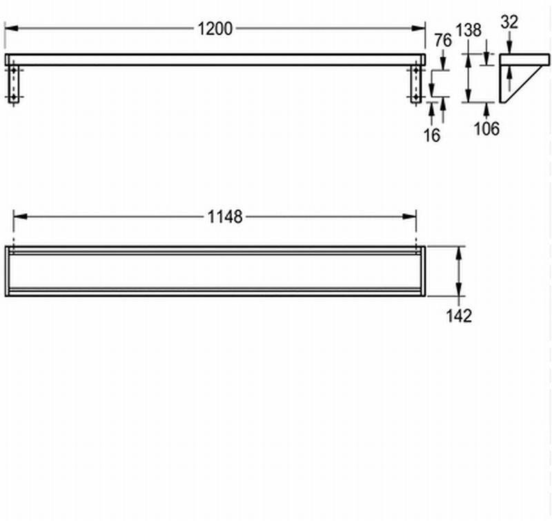 Franke Saturn planchet met bevestiging 120x15 cm, mat, rvs