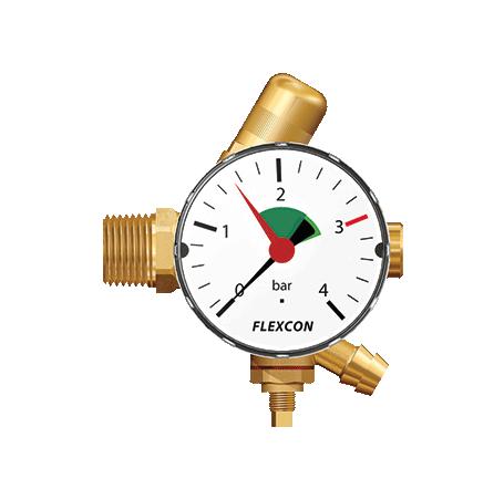 Flamco aansluitgroep 1/2 x 12 mm met manometer 63 mm