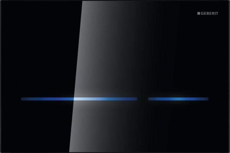 Geberit Sigma80 bedieningspaneel touch free voor 12 cm diep inbouwreservoir, zwart glas