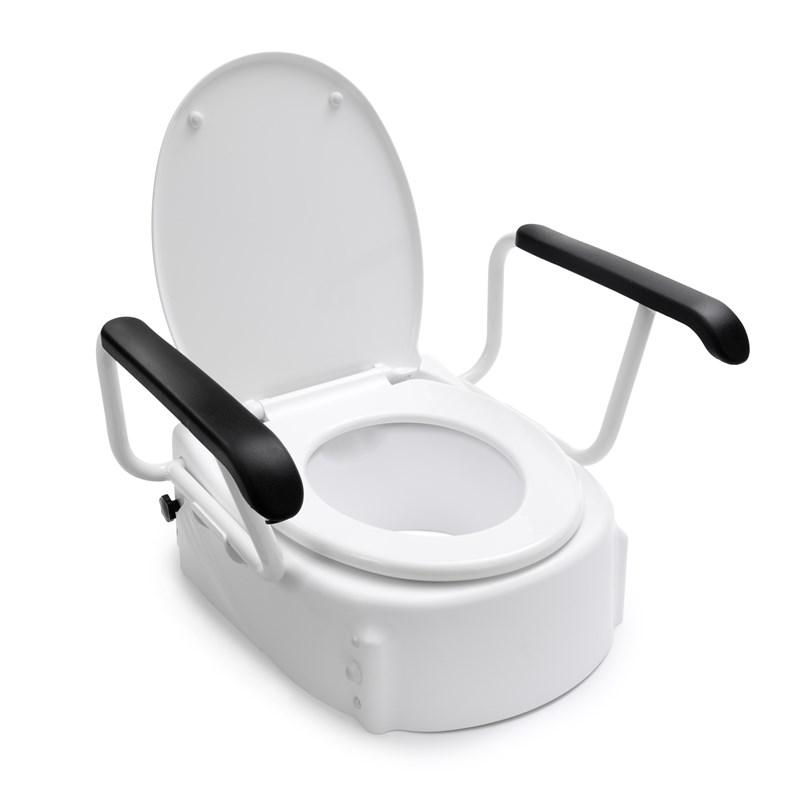 Handicare toiletverhoger met armleuningen en deksel, wit