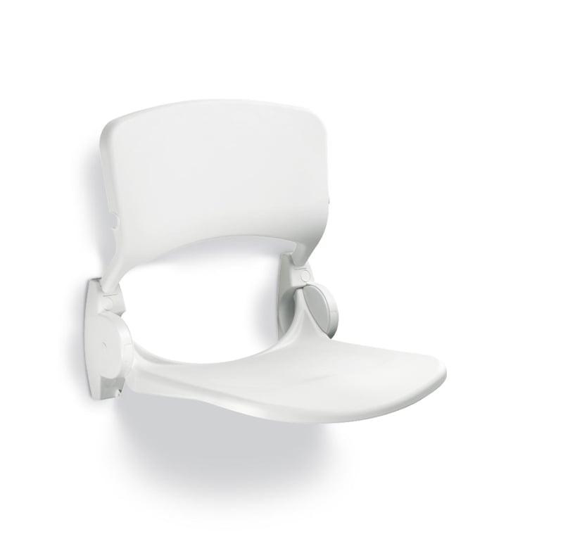 Handicare ergonomische douchezitting opklapbaar met rugleuning, wit