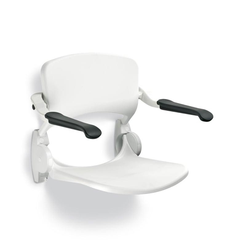 Handicare ergonomische douchezitting opklapbaar met rugsteun en armleggers, wit