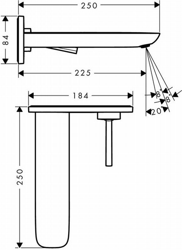 Hansgrohe PuraVida afbouwdeel ééngreeps voor wastafelkraan uitloop 225 mm, wit-chroom