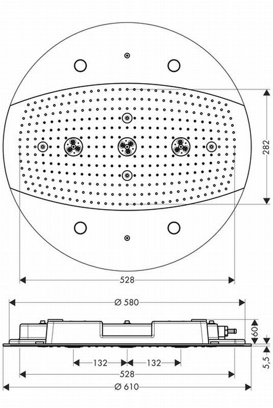 Hansgrohe Rainmaker afdekset hoofddouche 60 cm, zonder thermostaat met verl., chroom
