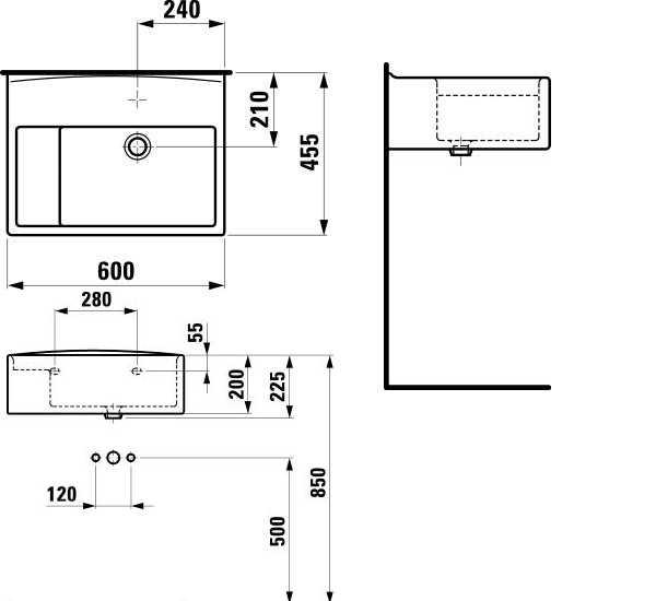 Laufen College klaslokaalwastafel 60x45 cm, met 1 kraangat, wit