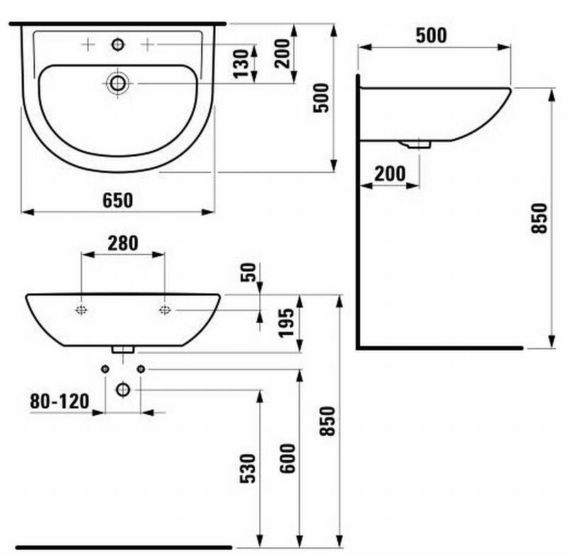 Laufen Pro B wastafel 65x50 cm, wit
