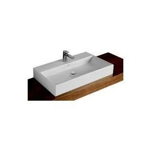 Villeroy & Boch Memento meubelwastafel 100x47 cm zonder overloop met 2 kraangaten CeramicPlus, wit