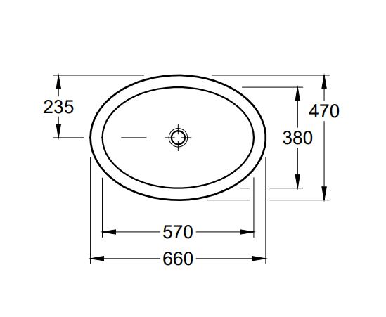 Villeroy & Boch Loop & Friends inbouwwastafel ovaal 66x47 cm zonder kraangat met overloop Ceramicplu
