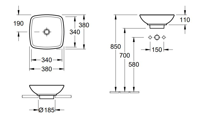 Villeroy & Boch Loop & Friends opzetwastafel vierkant 38x38 cm zonder overloop incl. plug, wit alpin