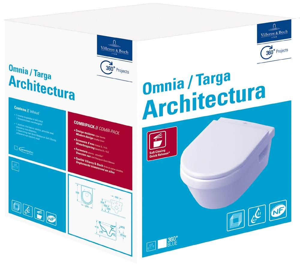 Villeroy & Boch Architectura CombiPack hangend toilet diepspoel CeramicPlus met toiletzitting met so
