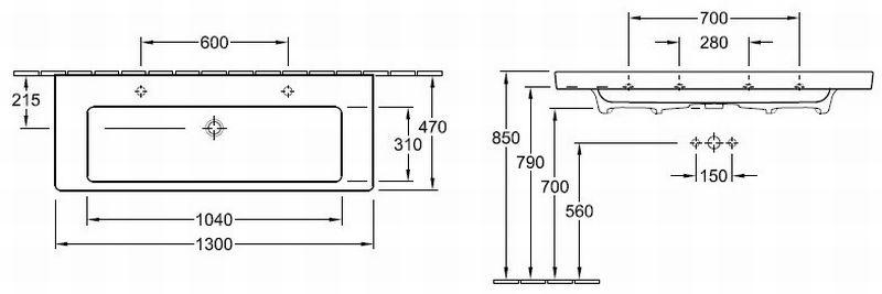 Villeroy & Boch Subway 2.0 meubelwastafel rechthoek 130x47 cm met 2 kraangaten zonder overloop, wit alpin