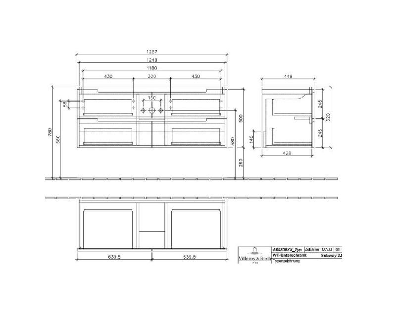 Villeroy & Boch Subway 2.0 wastafelonderkast 128,7x52x44,9 cm met 4 laden, oak graphite
