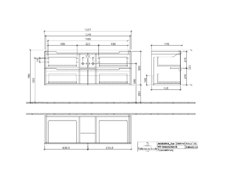 Villeroy & Boch Subway 2.0 wastafelonderkast met 4 laden voor dubbele wastafel 128,7x52x44,9 cm, glossy grey