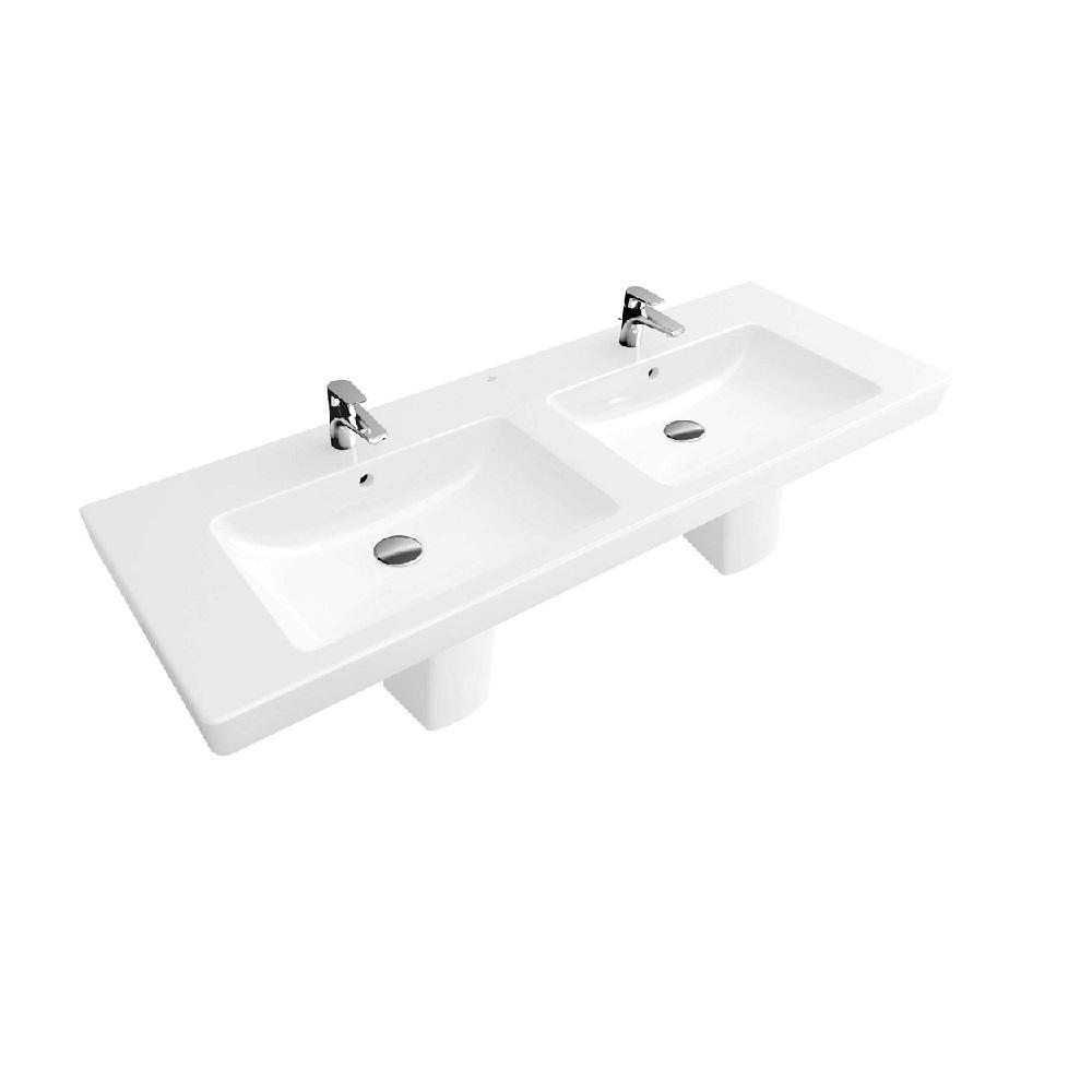 Villeroy & Boch Subway 2.0 dubbele meubelwastafel rechthoek 130x47 cm met 2 kraangaten zonder overloop, wit alpin