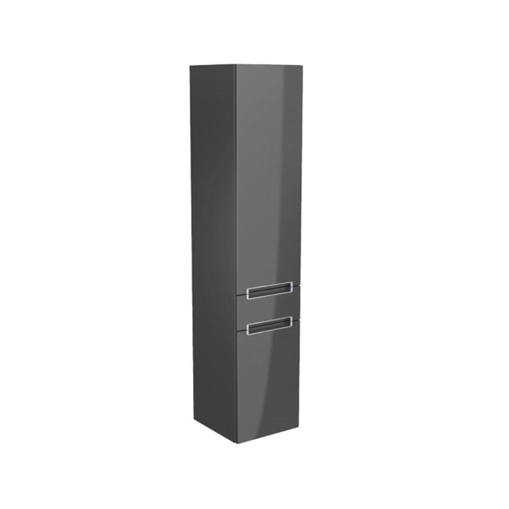 Villeroy & Boch Subway 2.0 hoge kast 35x37x165 cm, 1 lade 2 deuren links, oak graphite