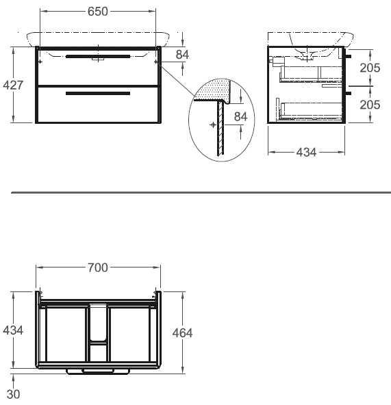 Sphinx 365 wastafelonderkast met 2 laden 70x42,7x43,4 cm, wit