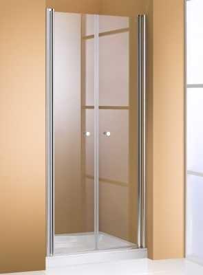 Hüppe 501 Design Pure 2-delige nisdeur 80x190 cm, matzilver-helder glas