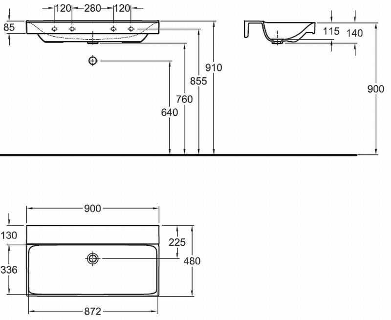 Sphinx 420 wastafel zonder kraangat zonder overloop 90x48 cm, wit