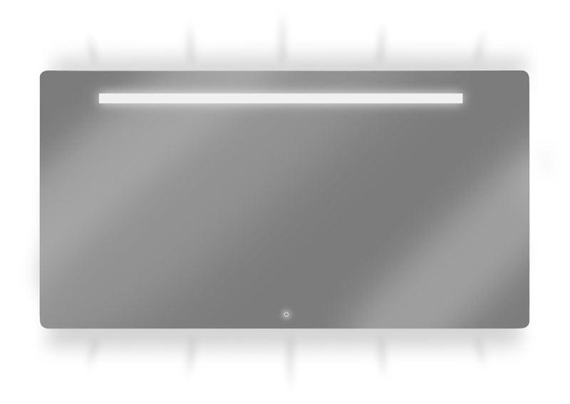 badkamermeubel Spiegels Spiegel met verlichting LoooX ML2 Line spiegel LED verlichting boven onder en geïntegreerd 120x70 aluminium