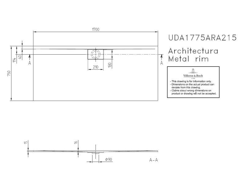 Villeroy & Boch Architectura MetalRim douchebak rechthoek 170x75x1,5 cm, wit alpin