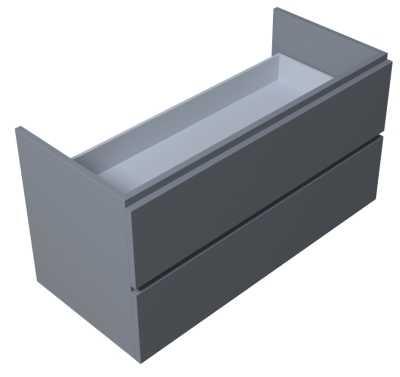 Sub 110 wastafelonderkast 100 cm met 2 laden, grijs gelakt