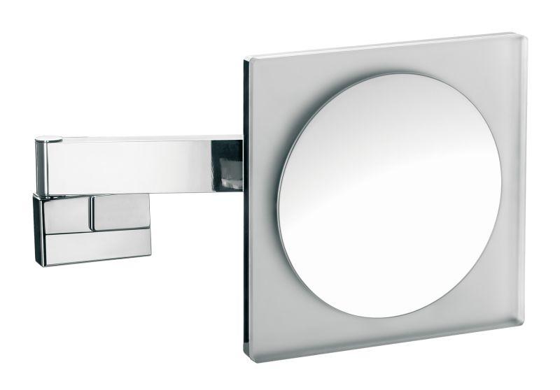 badkamermeubel Spiegels Spiegel met verlichting Emco Asis 2 armige LED scheer  en cosmeticaspiegel 22x22 cm 18Ø chroom