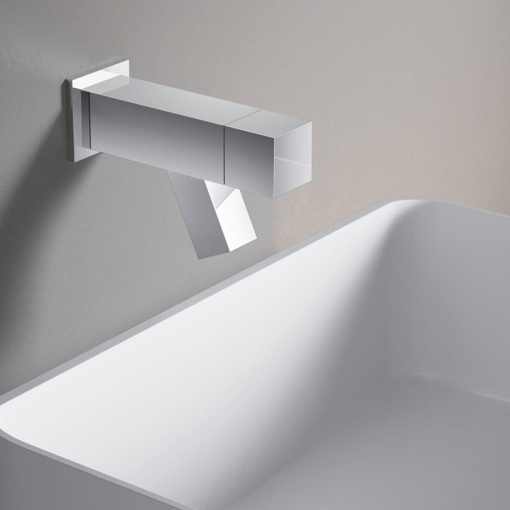 Hotbath Dude 1-knops fonteinkraan wandmontage, geborsteld nikkel