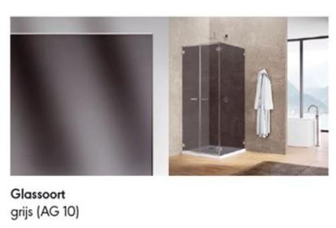 Productafbeelding van Sealskin Gallery 3000 zijwand 1000 mm br 1950 mm hg (incl. muurprofiel, voor comb. met draaideur), chroom zilver hoogglans grijs glas