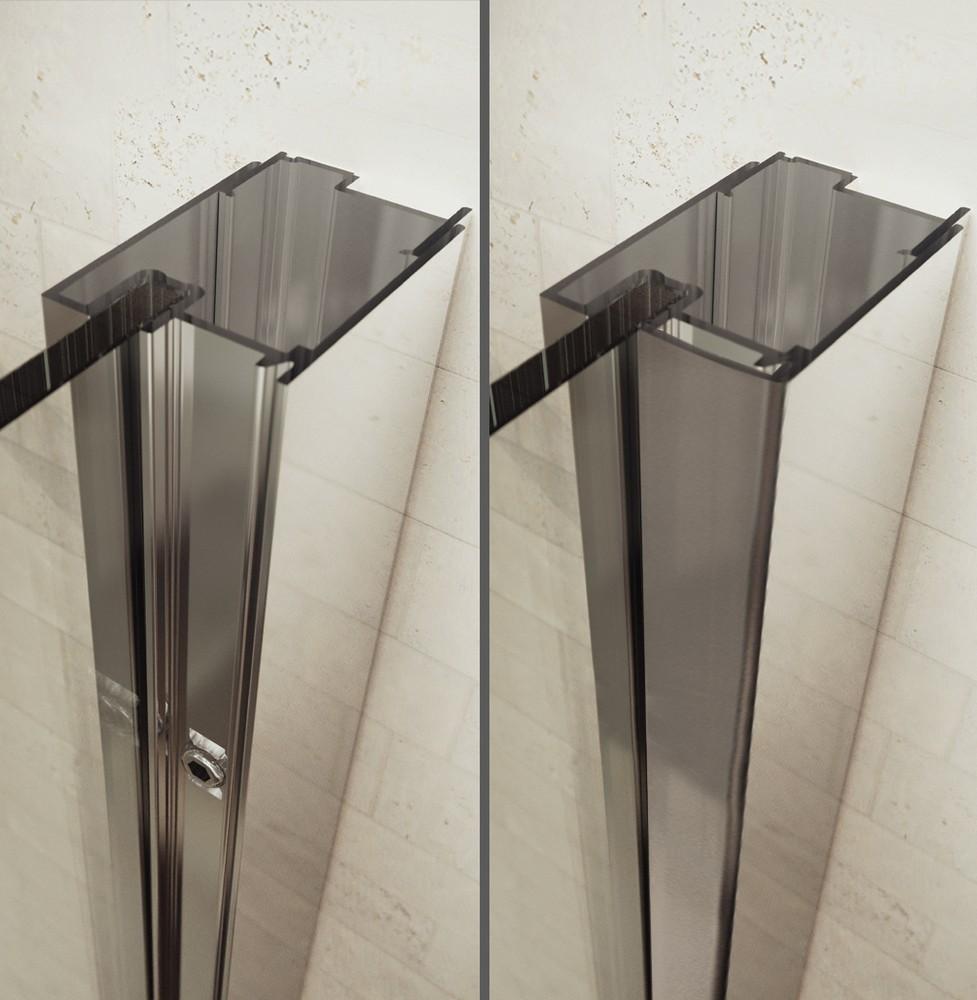 Productafbeelding van Sealskin Gallery 3000 1/4 rond luxe l.draaiend 900x900 mm br 1950 mm hg (radius 550), chroom zilver hoogglans helder glas + sealglas
