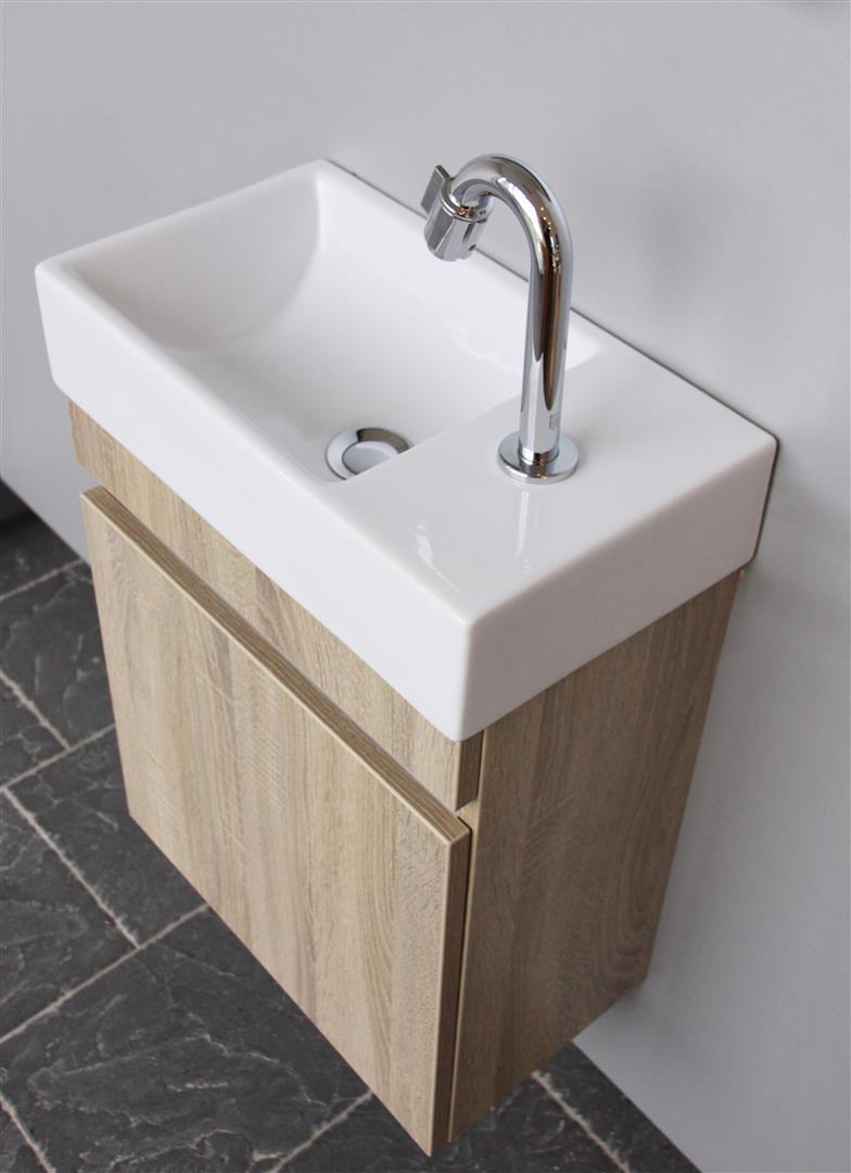 Thebalux Day toiletset 45x25 cm links met fontein, eiken antraciet