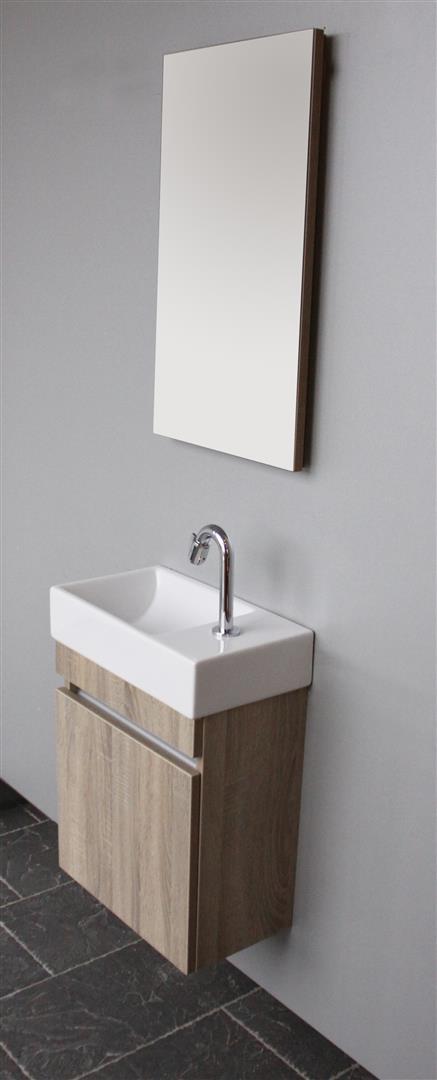 Thebalux Day toiletset 45x25 cm links met fontein met spiegel, wit acryl hoogglans