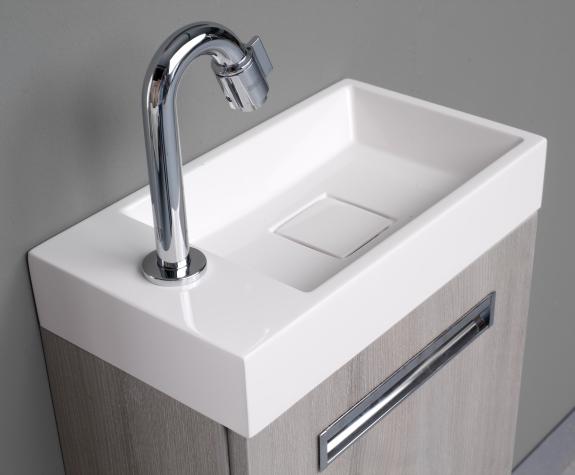 Thebalux Global toiletmeubelset zonder spiegel links, wit acryl hoogglans