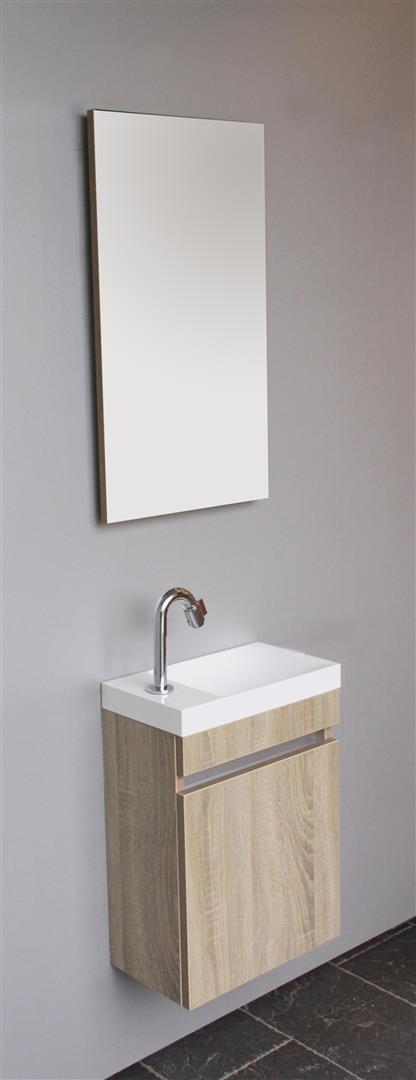Thebalux Happy toiletset 40x22cm links met fontein met spiegel, wit acryl hoogglans