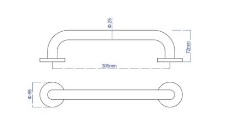 Plieger Start badgreep RVS 30 cm, chroom RW2026CP-PLB1 START