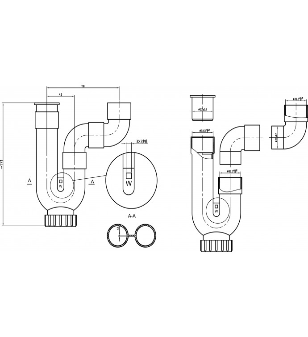 Wiesbaden sifon universeel 32 mm, grijs