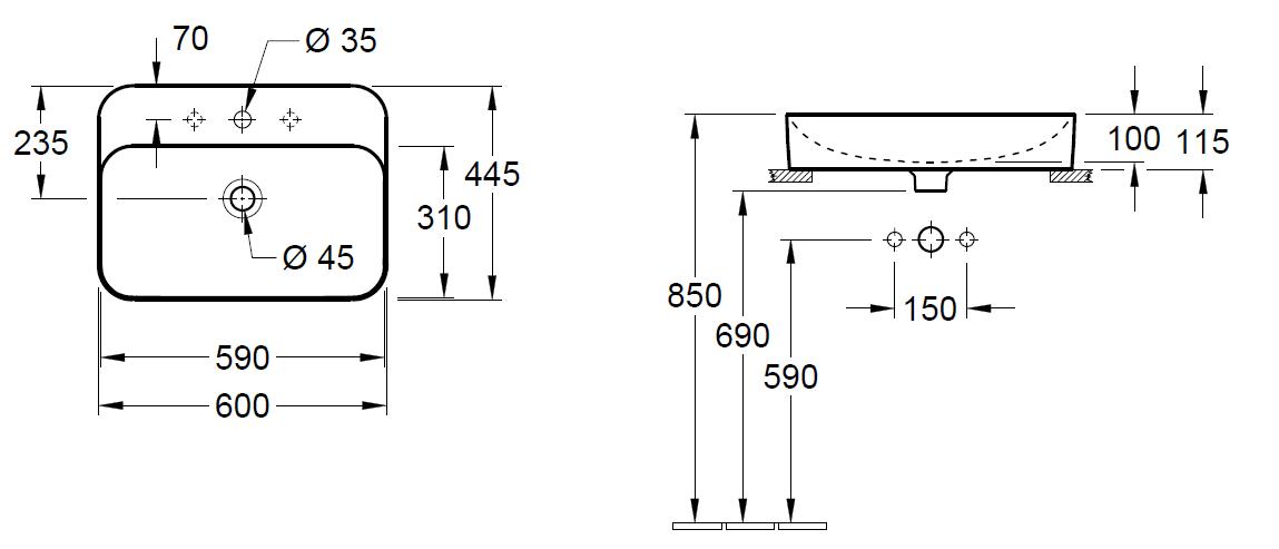 Villeroy & Boch Finion opzet wastafel 60x44,5 cm met kraangat en overloop CeramicPlus, alpin wit