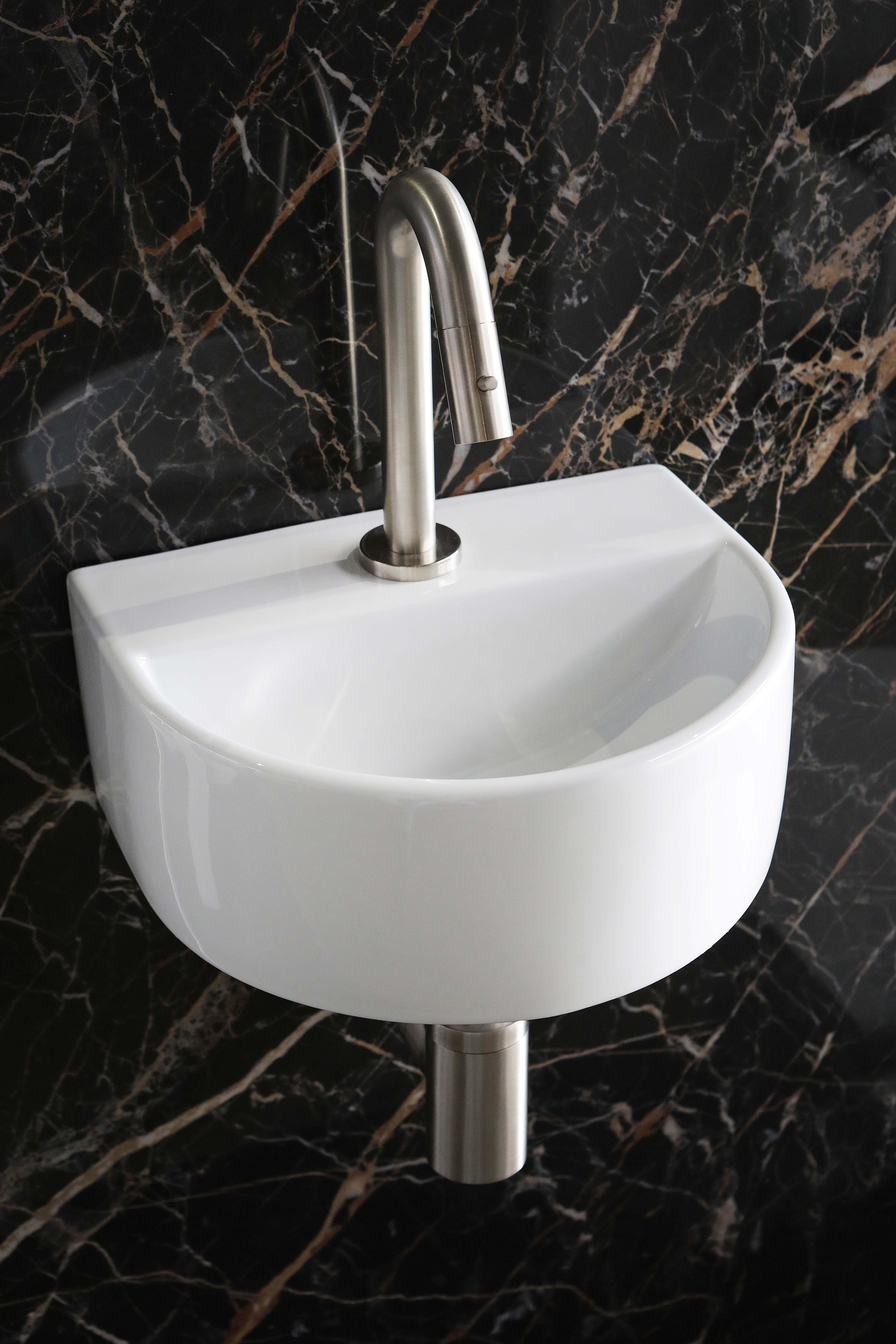 Luca Sanitair half rond fontein met kraangat 30,5 x 25 x 12 cm, glanzend wit