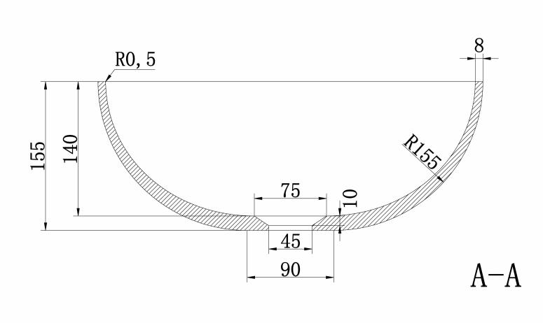 Luca Sanitair opzetwastafel rond met dunne rand solid surface 40x40x15 cm, mat antraciet