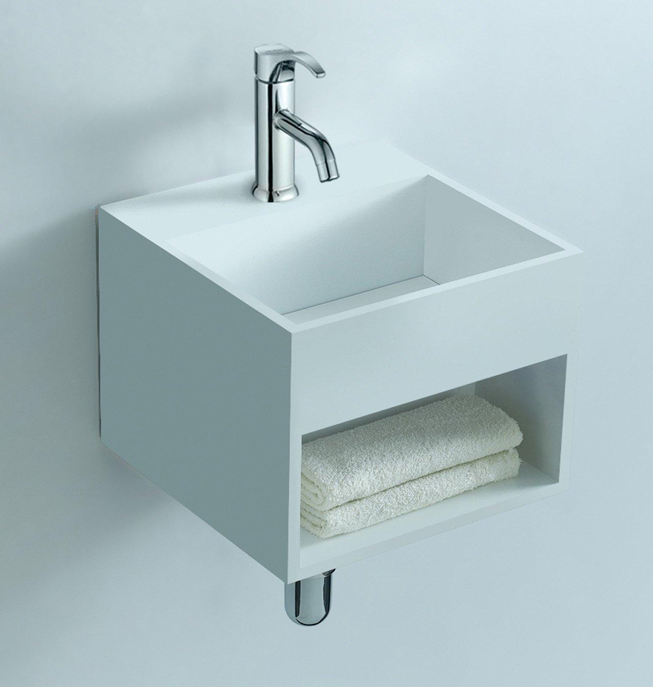 Luca Sanitair Luva vierkant fontein van solid surface 32,5 x 32,5 x 25 cm, mat wit