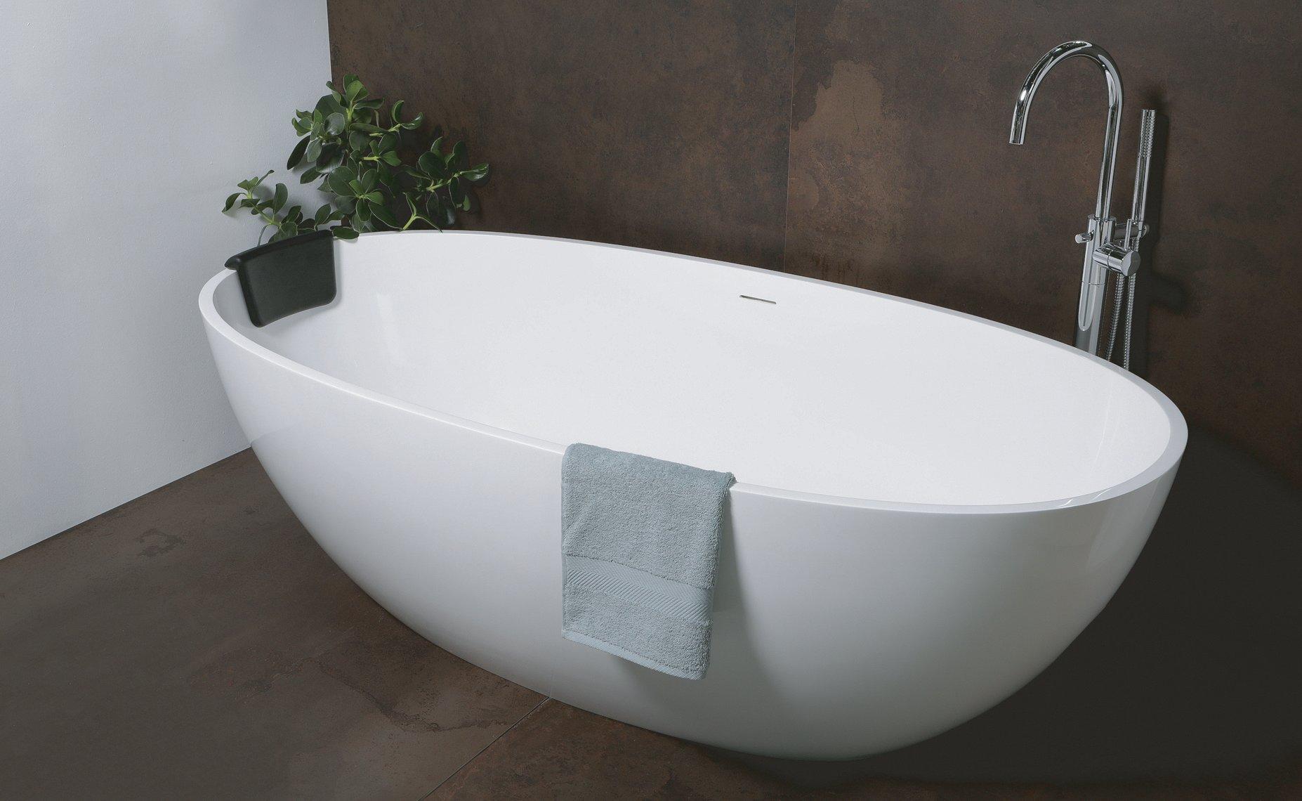Luca Sanitair Luva vrijstaand bad van mineral stone inclusief afvoerset chroom 180 x 80 x 60 cm, gla