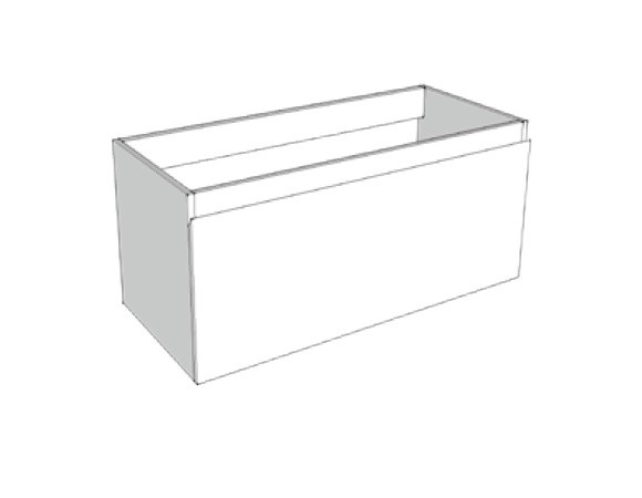 Riverdale wastafelonderkast greeploos hout decor enkele lade softclose met recht front 100x35x45 cm, zonder bovenblad, zilver eiken
