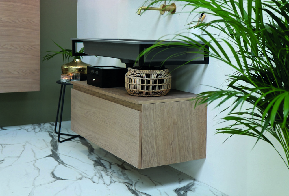 Riverdale Holmes quartz wastafel met 2 kraangaten inclusief plug 140x1x45 cm, beton