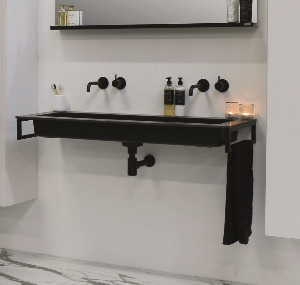 Riverdale Holmes quartz wastafel zonder kraangat inclusief plug 120x45 cm, zwart