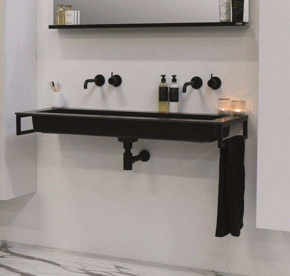 Riverdale Holmes quartz wastafel met 2 kraangaten inclusief plug 140x45 cm, zwart