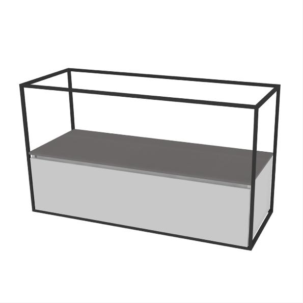 Sub stalen frame t.b.v. wastafelonderkast 126 x 71 x 46,5 cm, zwart
