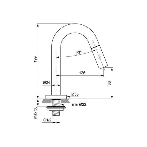 Ideal Standard stream fontkr uitl 125mm
