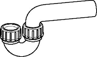 Geberit PE sifon inlaat verticaal / uitlaat horizontaal ø 40/40 mm